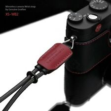 GARIZ Leather Wrist Strap Black Red XS-WB2 m43 Sony NEX Olympus Lumix Fuji