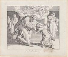 Gravure ancienne religieuse XIXème parabole de l'enfant prodigue
