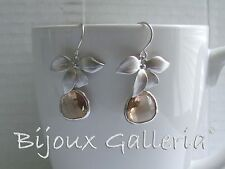 Silver Plated Orchid with Peach Champagne Gemstone Teardrop Dangle Drop Earrings