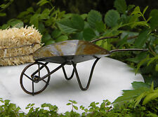 Miniature Dollhouse FAIRY GARDEN Furniture ~ Rustic Antiqued Metal Wheelbarrow
