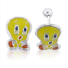 TWEETY BIRD STUD EARRING STERLING SILVER BEST GIFT IDEA For Children of All Ages