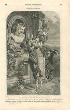 Chèvres Poésie du Paganisme Musée du Luxembourg par Rousseau GRAVURE PRINT 1860
