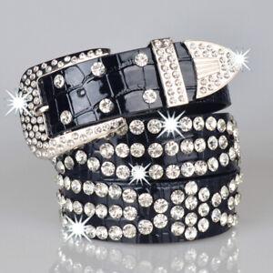 Women Girls Rhinestone Western Cowgirl Bling Studded Design Faux Leather Belt