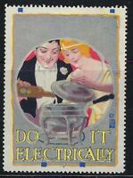 """VEGAS Early 1900s """"Do It Electrically"""" Promotional Poster Stamp (CQ118)"""