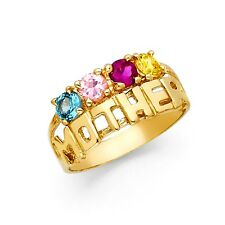 Solid 14k Yellow Gold Mother Ring Mom Band 4 Stone Multi Color Cz Fancy Fashion