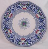 Zamara Blue Transferware Plate Frances Morley Antique Polychrome As Is
