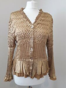 ROMAN ORIGINALS Gold Crinkle Textured Satin Blouse Top * Boho Chic * Sz S