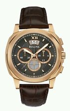 BULOVA Uomo Quadrante Nero Cronografo Sportivo Cinturino in Pelle Watch 97B136. NUOVO. 441
