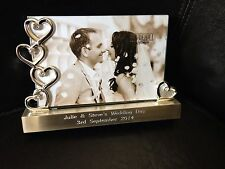 """Personalised Silver Hearts Photo Frame 6  x 4"""" ENGAGEMENT GIFT - ENGRAVED FREE"""