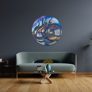096 Modern Yin Yang Water & Fire Metal Steel Flame Painted Hanging Wall Art