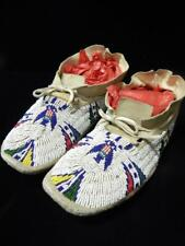 Vintage Southern Cheyenne Indian Moccasins Beaded Pictorial / Usa Flag