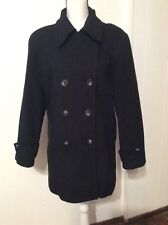 DONNY BROOK Black Wool Peacoat COAT Double breasted Jacket Pockets Lined 6