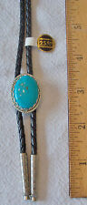 CABOCHON FAUX TURQUOISE BOLO TIE W/BRAIDED LEATHER CORD & SILVER-TONE METAL TIPS