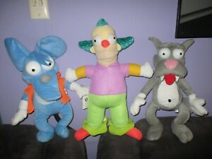 The Simpsons-CRUSTY The Clown, ITCHY & SCRATCHY large soft plush toys bulk lot