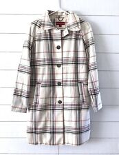 Merona Trench Coat Womens Size Small White Black Pink Plaid Button Down Cotton