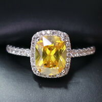 3 Ct Solitaire Yellow Citrine Diamond Halo Ring Women Jewelry White Gold Plated