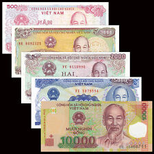 Vietnam Viet Nam 5 PCS Banknotes Set (500+1000+2000+5000+10000 Dong) UNC