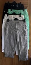 Ladies New Plus Size Black White Grey Mint Turn-Up Cotton Cropped Trousers 10-24
