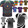 3D Print Casual Men Tops T-Shirt Optical illusion Hypnosis Swirl Summer Clothing