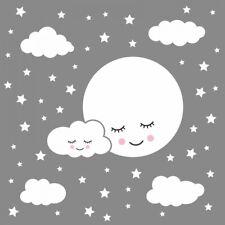 162 Wandtattoo Vollmond mit Wolken und Sternen weiß - in 6 Größen - Babyzimmer
