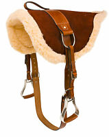 USED LEATHER BAREBACK HORSE SADDLE PAD STIRRUPS GIRTH NATURAL HORSEMANSHIP
