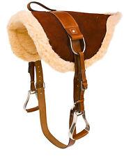 USED BROWN BAREBACK PAD HORSE RIDING SADDLE SET FREE LEATHER GIRTH STIRRUPS
