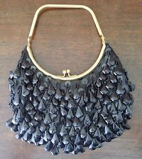 Vintage Black Beaded Silk Purse Handbag With Clasp - Made In Hong Kong