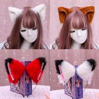 Imitation Animal Cat Long Fur Ear Shape Hair Clip Hoop Halloween Party Headwear