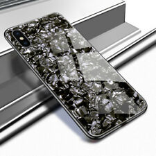 For iPhone X XS Max XR 8 Plus Shell Marble Tempered Glass Back Cover Phone Case