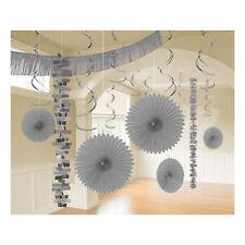 XL Dekoset silber 18 tlg. Girlanden Dekoration Silberhochzeit silberne Hochzeit