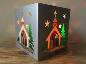Traditional Festive Xmas Scene Church Metal Stain Glass Style Tea Light Holder
