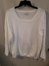 NWT Liz Claiborne long sleeve ribbed sweaters womens scoop neck XXL top white