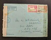 Vintage Emmastad Curacao Censored WWII Airmail Cover to APO Seattle WA USA