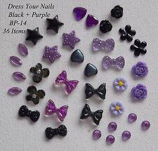 3d Nail Art Black + Purple Set Bows/Flower/Stars/Hearts - Halloween Crafts BP-14