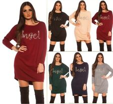 Enzoria Knitted Dress Knitted Oversize Mini Dress with Rhinestones