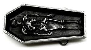 Skull Belt Buckle 3D Skeleton in Coffin Design Heavy Gothic Authentic Pagan