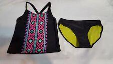 New Girls 2 pc Circo Black Bathing Suit Swimsuit Tankini  Bottoms Size S 6 6X