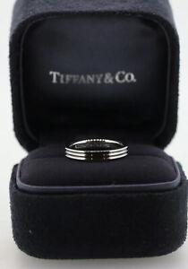 Tiffany 3 Row Ring Platinum Wedding Band Mens Womens RRP  US 4.5