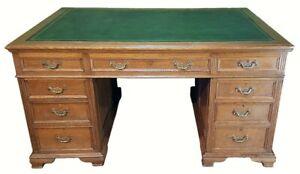 Maple and Co Victorian oak partners desk 1870