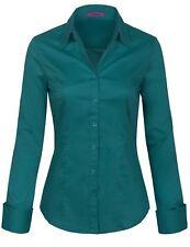 KOGMO Women's Solid Long Sleeve Button Down Office Blouse Dress Shirt (S-3X)