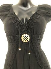 Artisan Cotton Boho Gypsy Bohemian Peasant Mayan dress Handmade in PERU Black