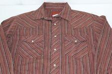 Rustler Long Tail M Medium Mens Brown Striped Pearl Snap Western Shirt