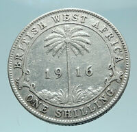 1916 British WEST AFRICA UK King George V Genuine Silver Shilling Coin i79005