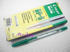 12 x Pilot BP-S 0.7mm Fine Oil Based Ball Point Pen, GREEN