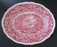 "Antique Masons ""VISTA"" Large 15-3/8"" Platter Red/Pink Transferware"