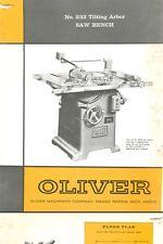 Oliver #232 Tilting Arbor & Saw Bench Manual & Parts List PDF