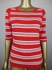 TRENERY by COUNTRY ROAD TOP RED STRIPED KNIT TUNIC SHIRT BLOUSE -100% COTTON M