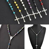 Rosary Imitate Pearl AB Crystal Pendant Necklace Prayed Beads Chain Silver Cross