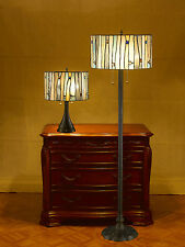 "ontemporary Blue Tiffany Style Lamp Set Handcrafted 12' and 16"" Shades"