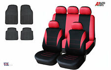 RED CAR SEAT COVERS & RUBBER CAR MATS SET FOR VW JETTA GOLF MK 3/4/5/6 TOURAN